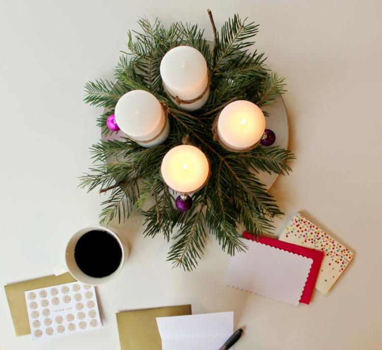 DIY Projekte Weihnachtsdeko basteln moderner Adventskranz Ideen