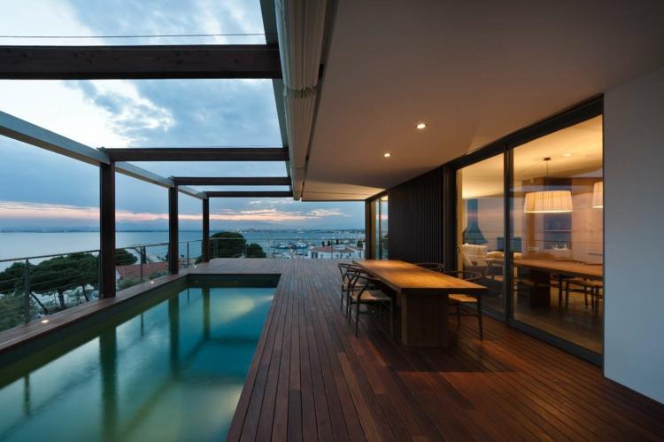 Designer Balkonideen schöne Balkone mit Außenpool