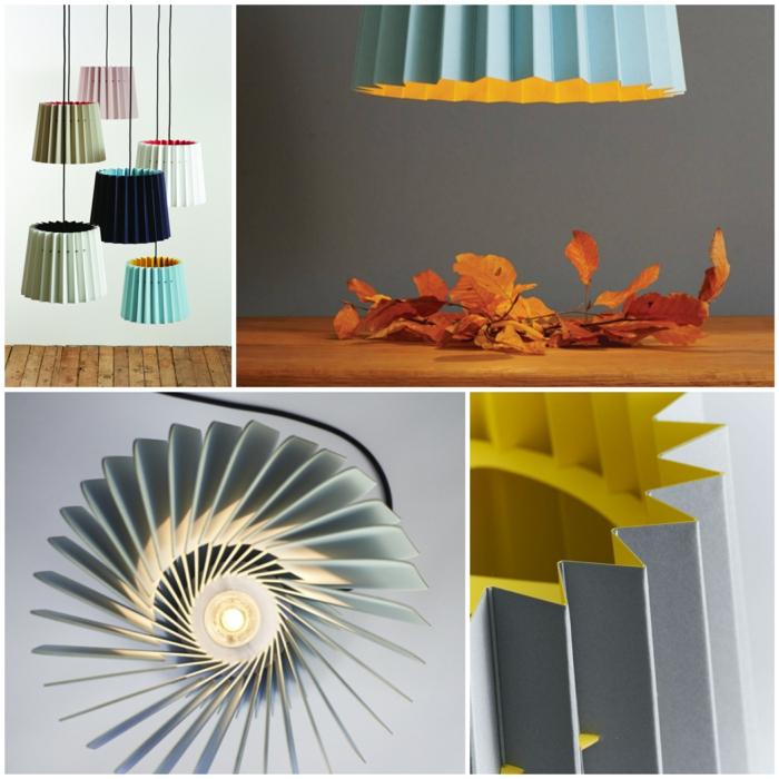 Designerleuchten weiss orange haenge collage