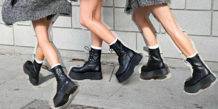 Halbstiefel damen fashion mode drei  frauen schwarze schuhe plateao