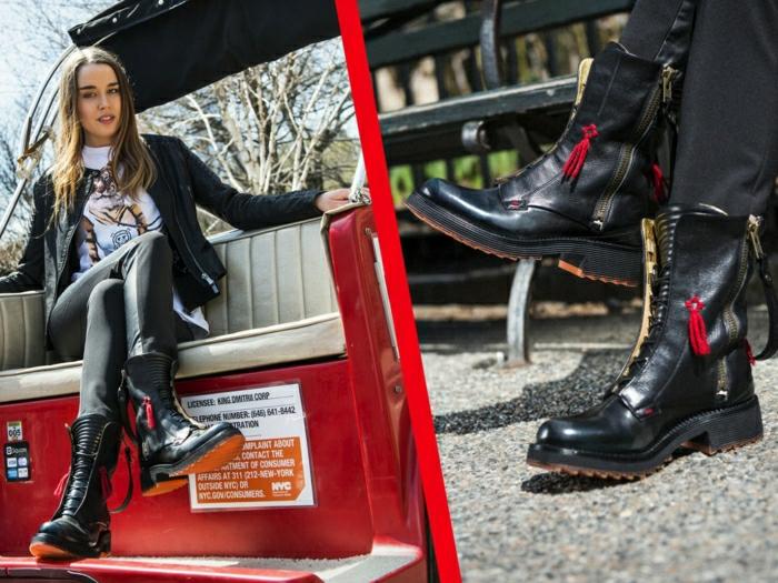 Halbstiefel damen fashion mode schwarze schuhe geschnürt
