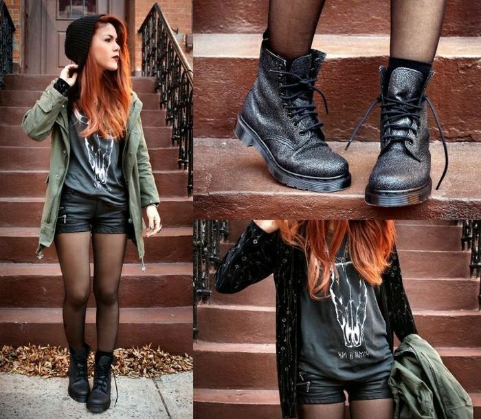 halbstiefel damen fashion mode schwarze schuhe geschnuert winter outfits