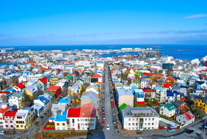 Hauptstadt Island Reykjavík sehenswürdigkeiten vogelperspektive