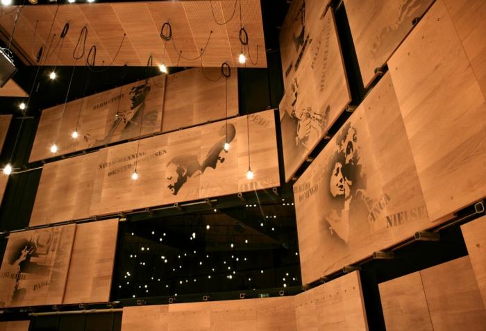 Holzfliesen holzpaneele holzverkleidung Holz fliesen fliesen holzoptik wohnideen wangestaltung holz verkleidung waende akustikplatten compenhagen tonhalle