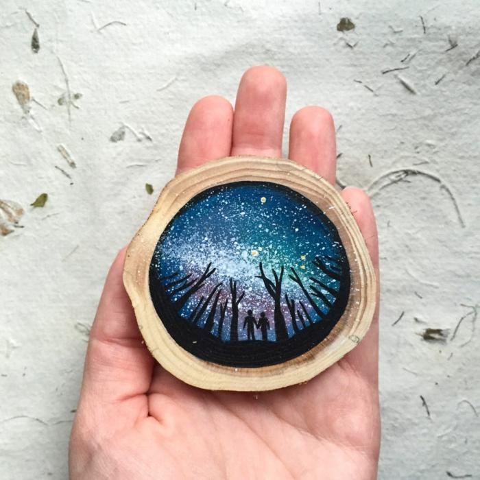 Holzkunst kunst aus holz künstler dekoration organische kunst sternenhimmel