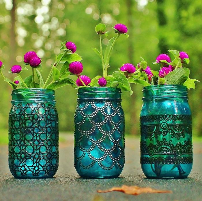 Orientalische Lampen warme blau mit blumen