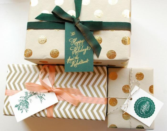 Weihnachtsgeschenke verpacken geschenk verpacken geschenke schön verpacken gruen gold