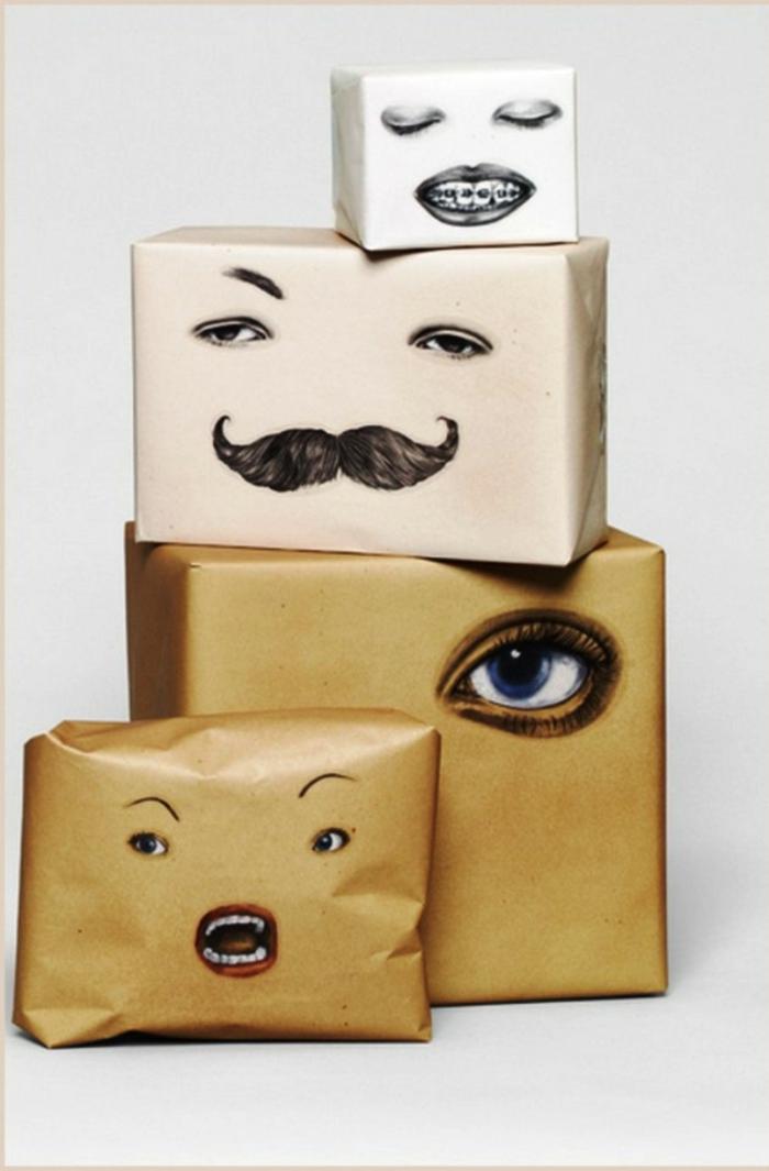 Weihnachtsgeschenke verpacken geschenk verpacken geschenke schön verpacken zum selbst gestalten gesichter