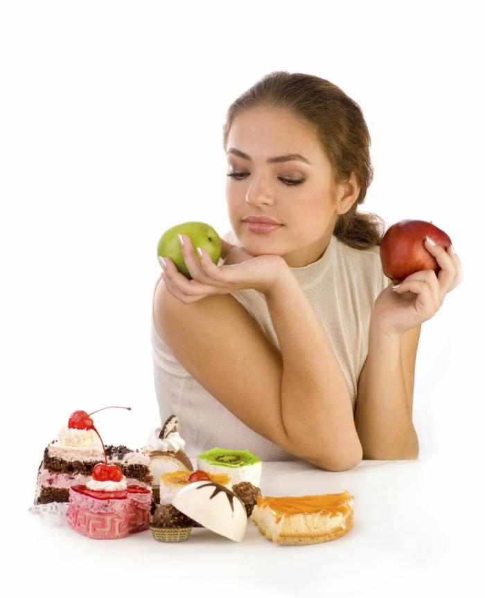 abnehmen ohne hungern frau äpfel leckereien