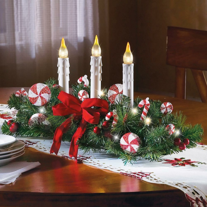 adventskranz dekorieren festliche tischdeko ideen tischläufer weihnachten