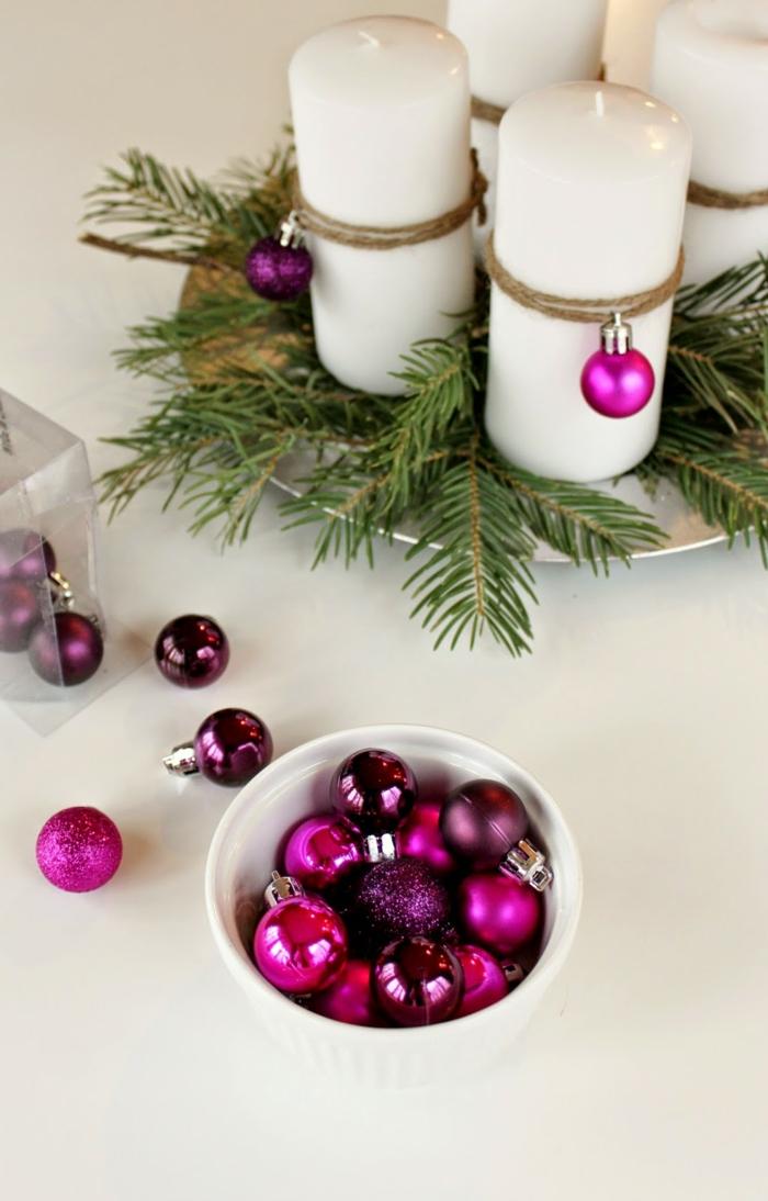 ideen adventskranz diy dekoideen weihnachten lila baumanhänger