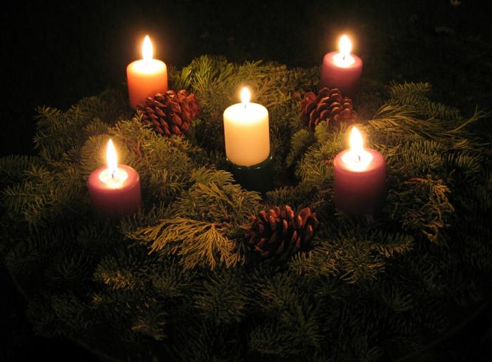 adventskranz ideen einfach winterlich