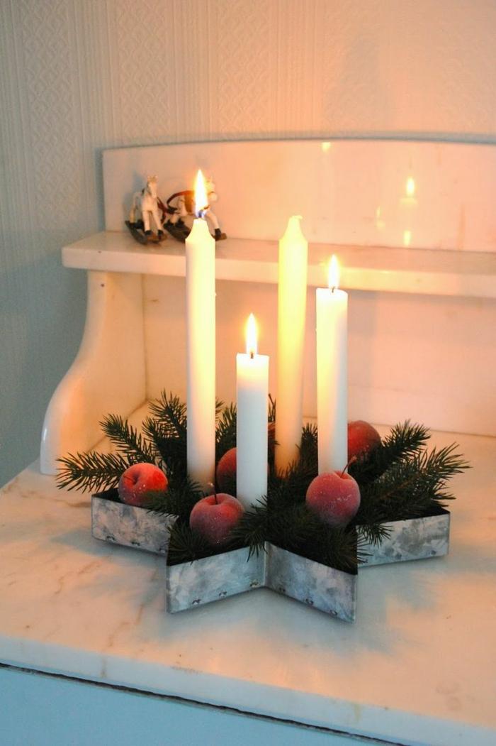 adventskranz ideen kerzen rote äpfel stern dekoideen weihnachten