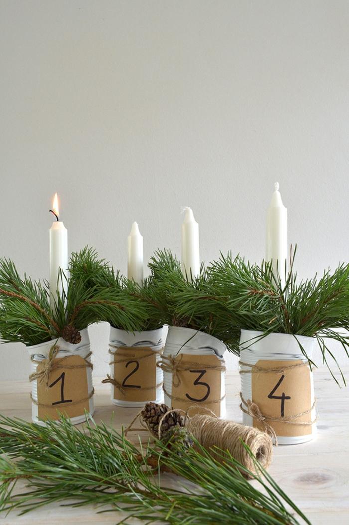 ideen adventskranz vier weiße kerzen nummern dekoideen weihnachten