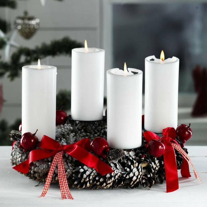 dekoideen weihnachten weiss moos rund schleife baum