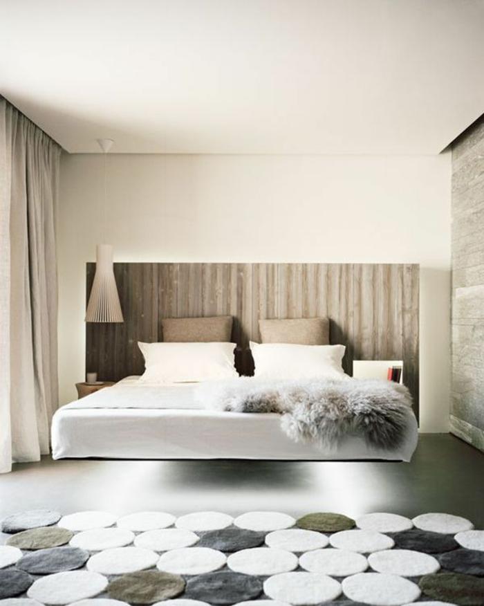Best Betten Hngend Schwebendes Bett Holz Kopfteil Schafsfell With Holz  Kopfteil