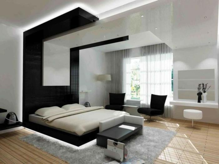 ausgefallene betten schlafzimmer schwebendes doppelbett schwarz weiß