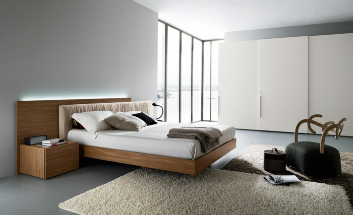 Modernes Designer Doppelbett Holz | Möbelideen