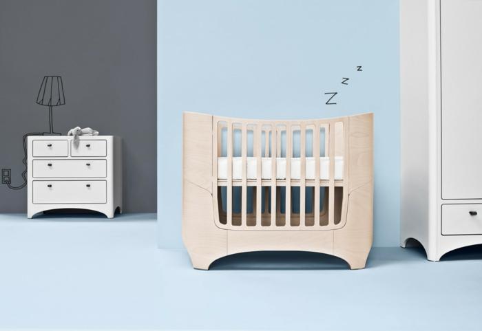 babybett kaufen mamanatural modernes design blaues babyzimmer