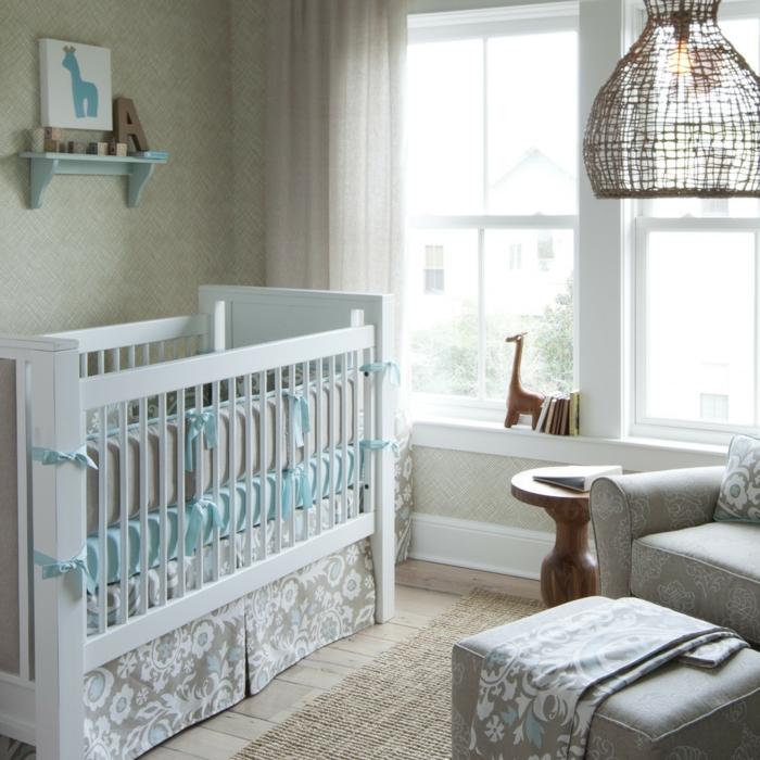 babybetten design babyzimmer stoffmuster ausgefallener lampenschirm