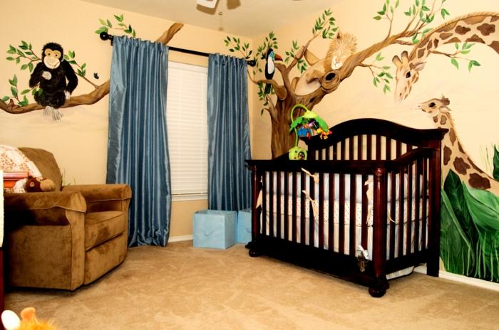 babybetten design baybzimmer dekorieren blaue gardinen wandmalerei