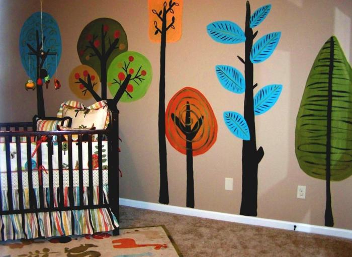 babybetten design farbige bettwäsche schöne wandgestaltung kinderteppich