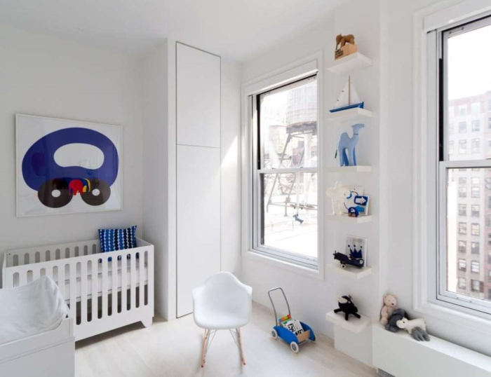 babybetten designs weißes gitterbett offene wandregale babyzimmer