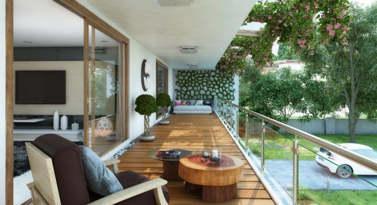 balkonideen kleiner balkon gestalten balkonmöbel holz