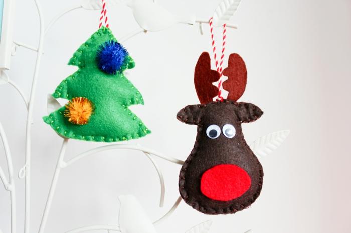 bastelideen weihnachten baumanhänger selber nähen schöne  dekoideen