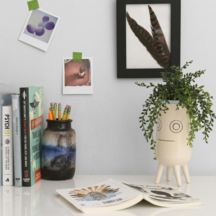 blumenkübel zimmerpflanzen keramik gesicht
