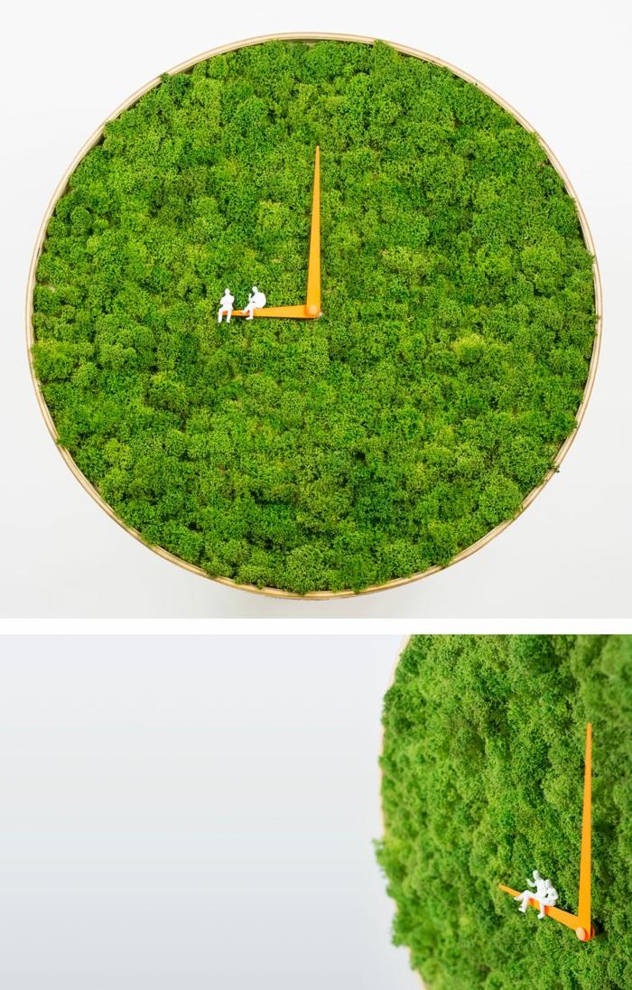 blumenkübel zimmerpflanzen moos grünpflanzen pflanzkübel rund wanduhr