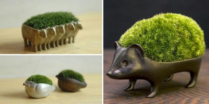 blumenkübel zimmerpflanzen moos igel schafe tierenfiguren