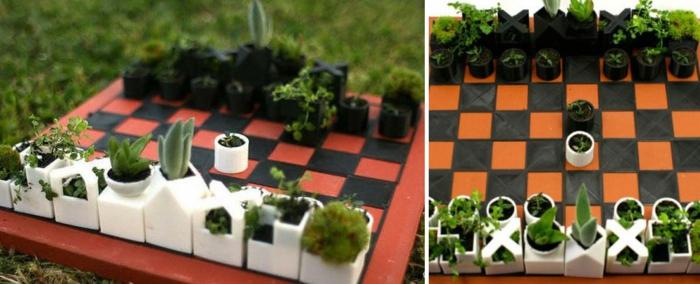 blumenkübel zimmerpflanzen schachspiel schachbrett