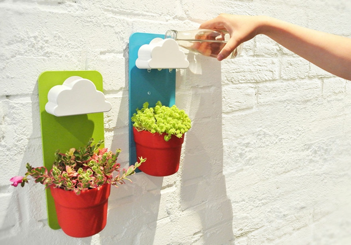 blumenkübel zimmerpflanzen wanddeko originelle pflanzkübel