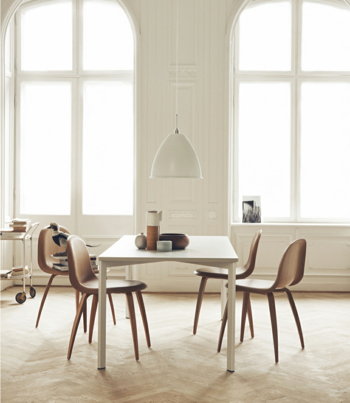 dänisches dänisches design skandinavisch einrichten esszimmer esstisch stühle hängeleuchte gubi