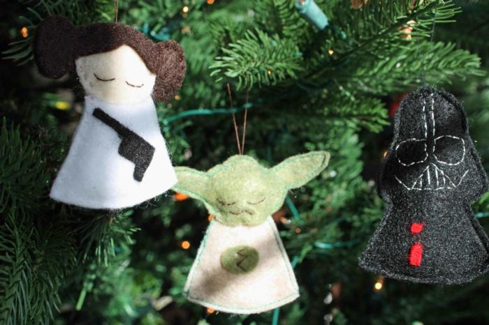 dekoideen weihnachten bastelideen baumanhänger star wars