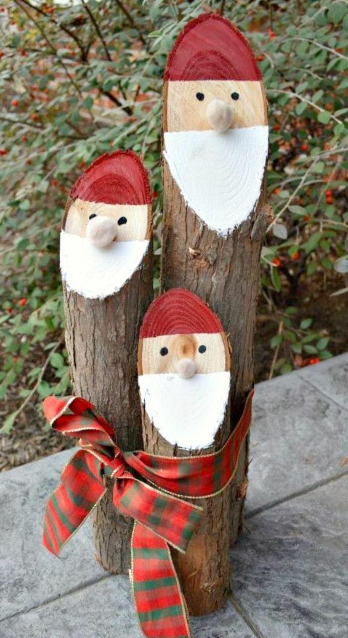 dekoideen weihnachten bastelideen weihnachtsmann holz