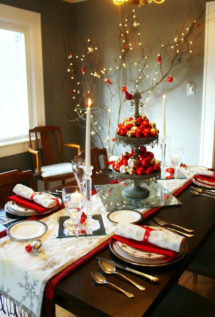dekoideen weihnachten tischdeko tischläufer weihnachten