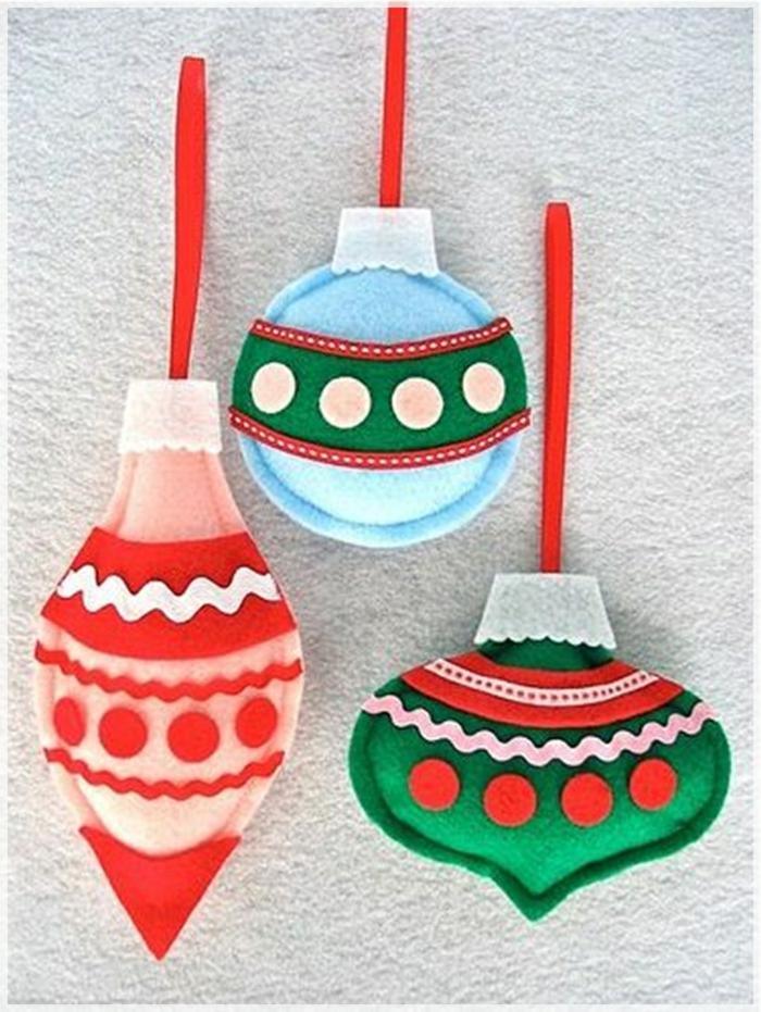dekoideen weihnachten weihnachtliche bastelideen schöne baumanhänger selber nähen