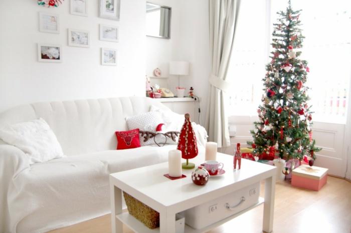 dekoideen weihnachten wohnzimmer dekoideen weißes ambiente rote akzente