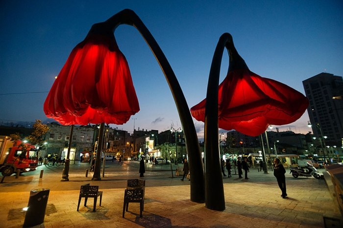 designer lampen jerusalem smarte straßenbeleuchtung blumen
