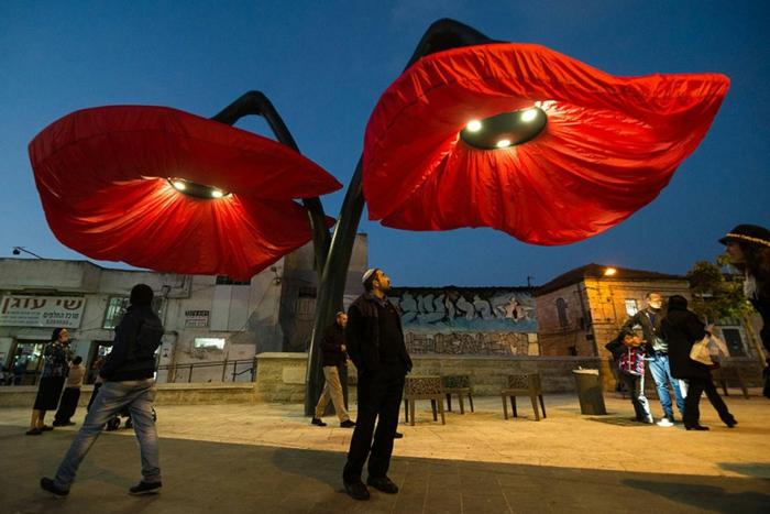 designer lampen jerusalem straßenleuchten blumen