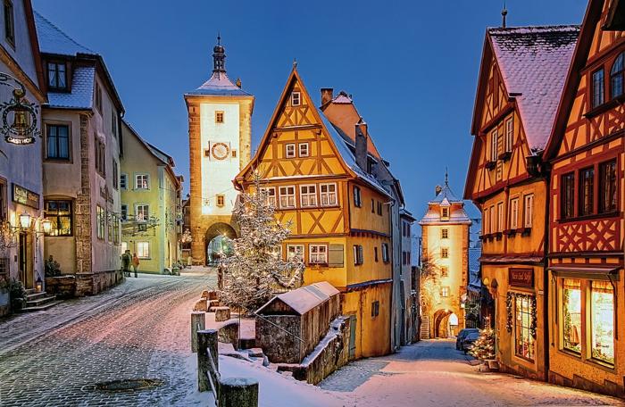 die schönsten weihnachtsmärkte rothenburg dämmerung strassen