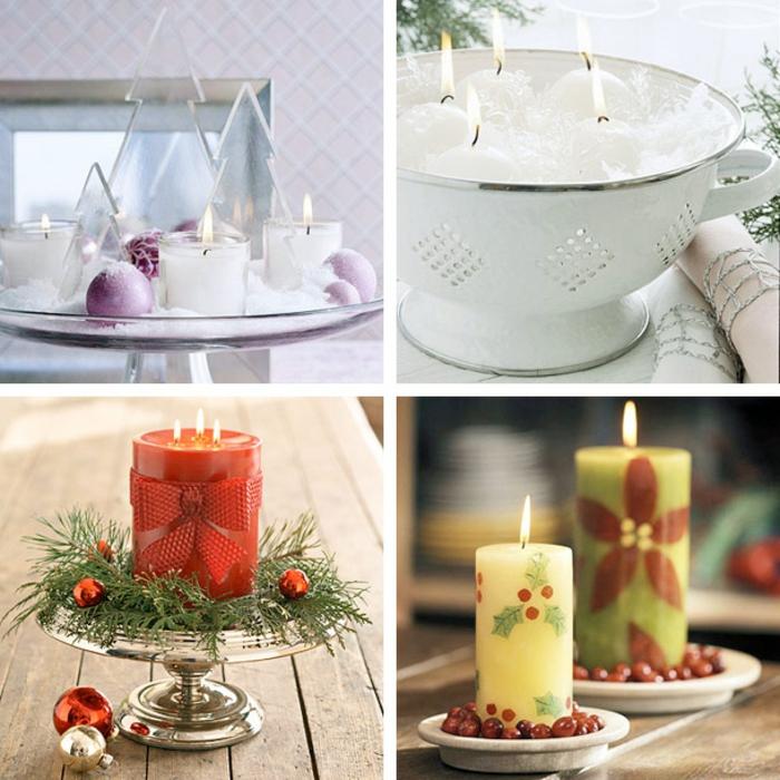 diy deko ideen weihnachten adventszeit küchensieb glasschalen tortenständer