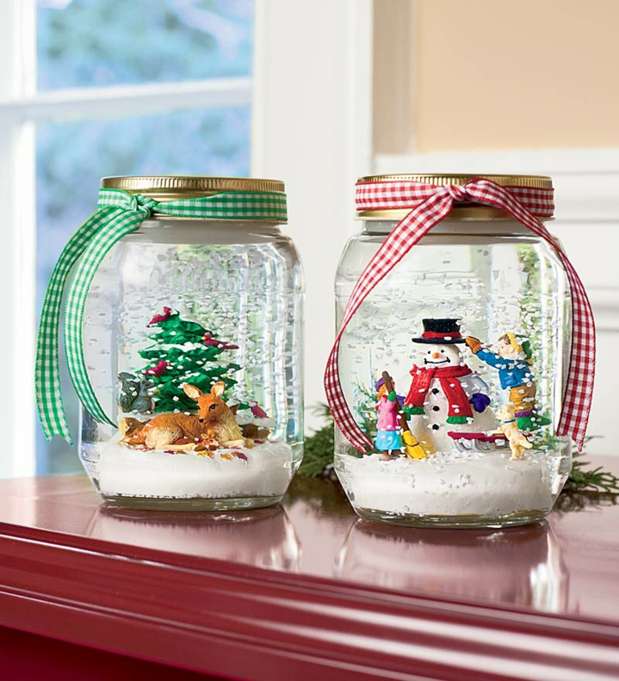 diy deko ideen weihnachten adventszeit schneekugel selber machen