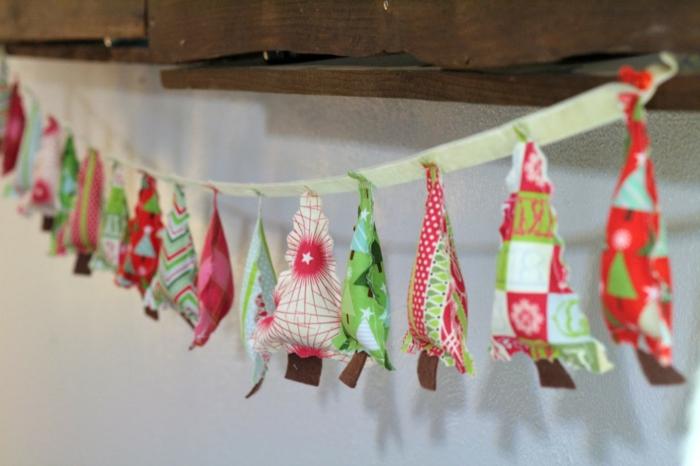 diy deko ideen weihnachten adventszeit stoff tannenbäume girlande selber machen