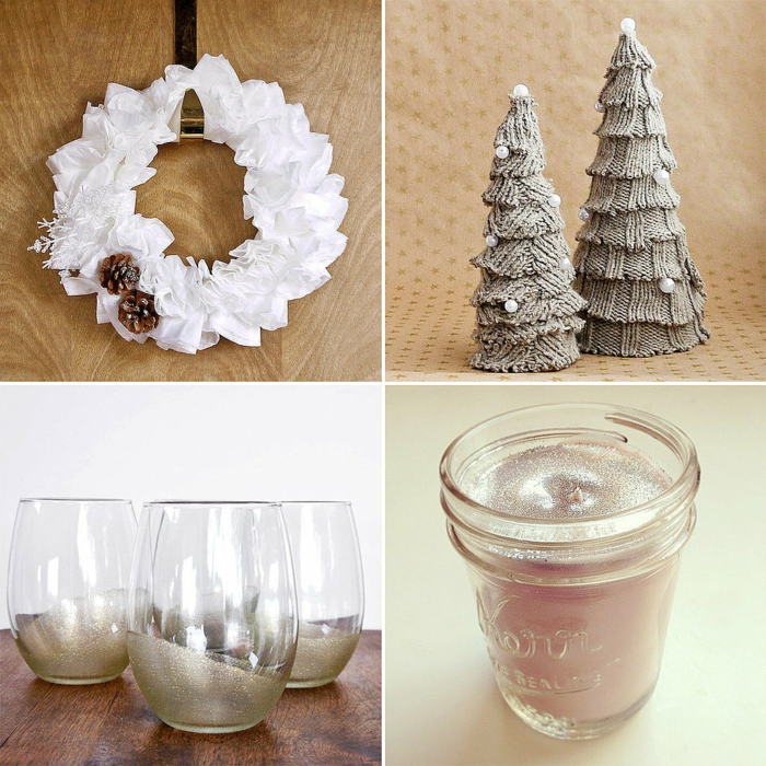 diy deko ideen weihnachten adventszeit tannenbäume windlichter türkranz