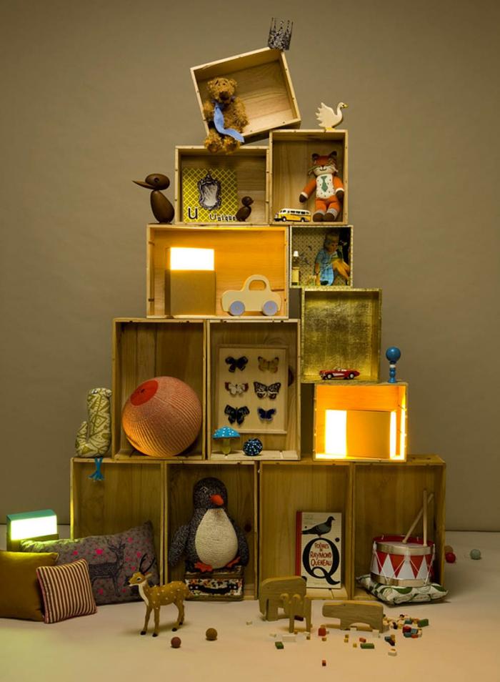 diy deko ideen weihnachten adventszeit tannenbaum holzkisten selber basteln