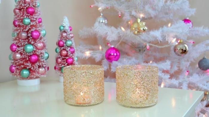 diy ideen weihnachten adventszeit teelichter selber machen glizter gold silber