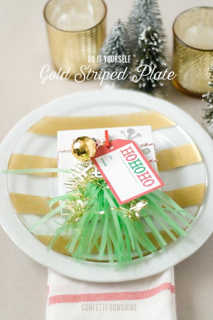 diy deko ideen weihnachten adventszeit teller tischdekoration gold streifen